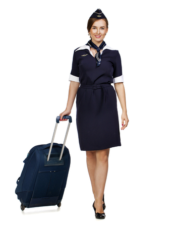 airline hostess: JUNE 30, 2015 Air hostess in new uniform of national Russian airline Aeroflot, skyteam member, isolated on white background