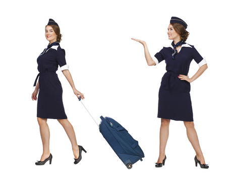 airline hostess: Collage two women, Portrait in full growth stewardess holding suitcase isolated on white background