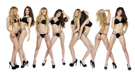 Collage sexy women, Portrait in full growth, beautiful models in black lingerie, blonde and brunette, front and back, isolated on white background