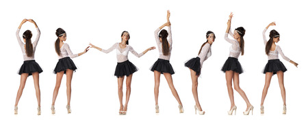 white blouse: Collage, Full length portrait of a beautiful slim brunette models in black skirt and white blouse transparent, on white isolated background Stock Photo