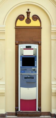 automatic teller machine bank: Without people Modern indoor automatic teller machine at a bank, indoor