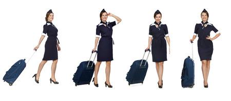 hotesse de l air: Collage, Portrait en pleine valise tenant hôtesse de croissance isolé sur fond blanc