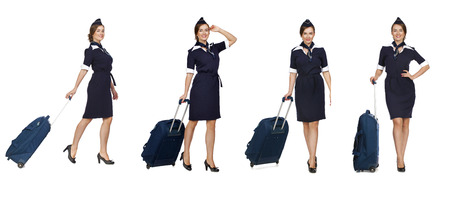airline hostess: Collage, Portrait in full growth stewardess holding suitcase isolated on white background