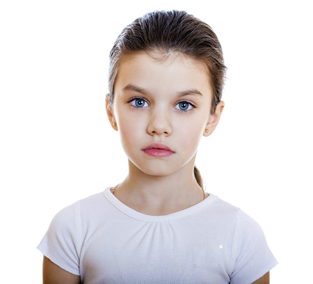grief: Sad little girl, isolated on white background