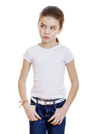 downcast: Sad little girl, isolated on white background