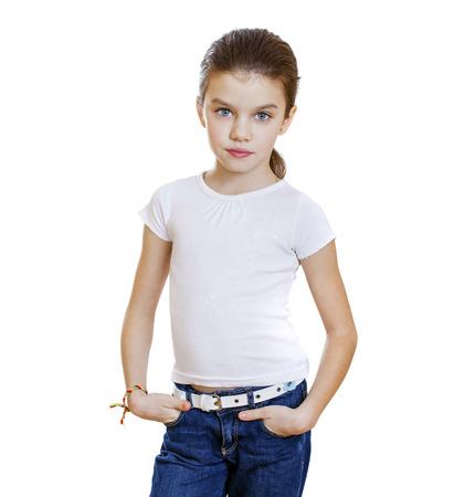 petite fille triste: Sad little girl, isol� sur fond blanc