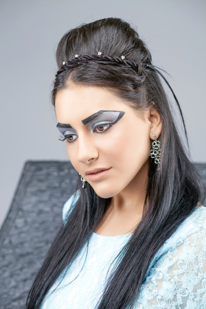make up model: Egyptian Queen Cleopatra - make up model in studio