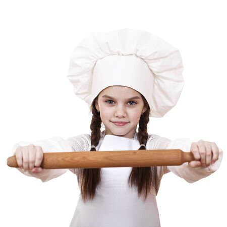 make dirty: Сute little girl baking on kitchen and shows rolling-pin, isolated on a white background