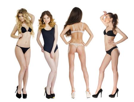 girl naked: Los ensayos con modelo, Collage de cuatro modelos en ropa interior que presenta en el estudio sobre un fondo blanco aislado