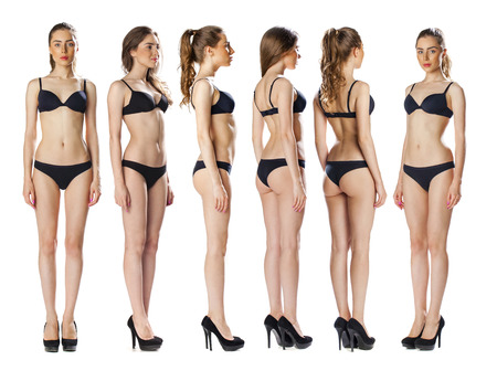 nude pose: Snap Models. Full length portrait of a beautiful brunette women in black bikini isolated on white background