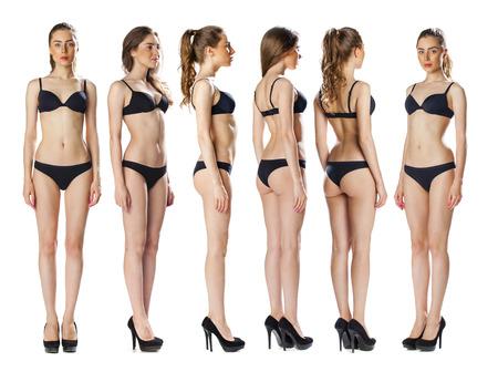 Snap Models. Full length Portret van een mooie brunette vrouw in zwarte bikini op een witte achtergrond