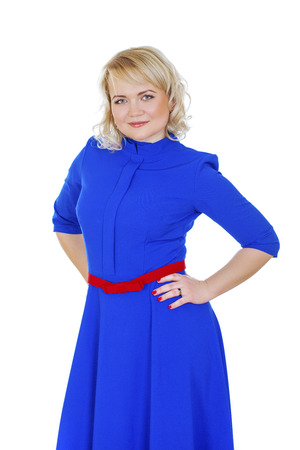 mid adult: Mid adult cheerful woman portrait in blue dress, attractive caucasian middle 40 years old woman over white