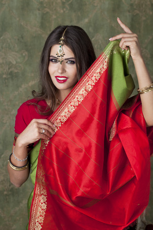 sari: Young beautiful brunette woman in indian red dress Stock Photo