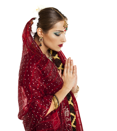 orison: Young beautiful brunette woman in indian dress Stock Photo