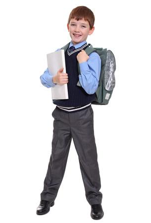 full length portrait: Full length portrait of a schoolboy isolated on white background Stock Photo