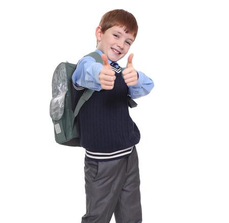portret van een schooljongen op een witte achtergrond