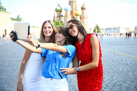 three women: Selfie three women at the red square in Moscow