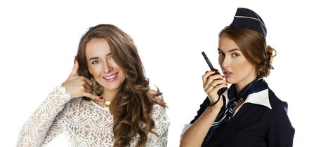 cb phone: Call Me. Collage, Beautiful smiling stewardess with cb radio, isolated on a white background Stock Photo