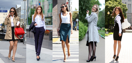 Collage five business women. Young beautiful business fashion girls on the summer street