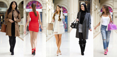 Collage five fashion young women in shop Banque d'images
