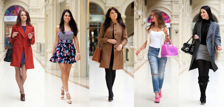 Collage five fashion young women in shop Imagens