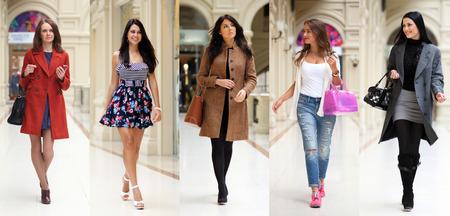 bata blanca: Las mujeres jóvenes de cinco moda Collage en la tienda Foto de archivo
