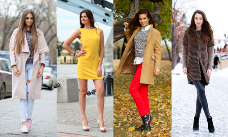 clothing model: Collage of four different models in fashionable clothes for the seasons, outdoors Stock Photo