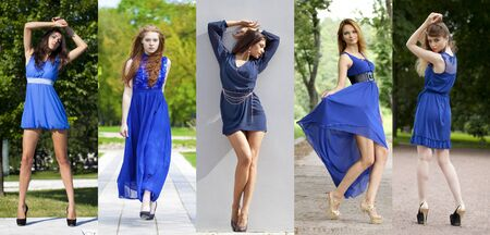 blue dress: Collage of five beautiful models in a blue dress