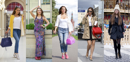 Collage five fashion young women, street fashion