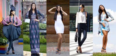 Las mujeres jóvenes de cinco moda Collage, moda de la calle