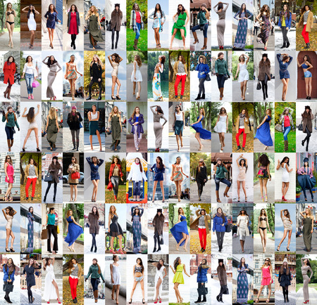 Collage different models in fashionable clothes for the seasons, outdoors Standard-Bild