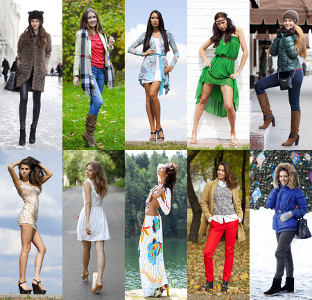 clothing model: Collage of ten different models in fashionable clothes for the seasons, outdoors