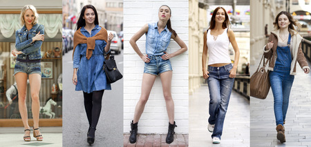 women jeans: Collage Jeans Fashion. Portrait in full growth the young beautiful girls in blue jeans