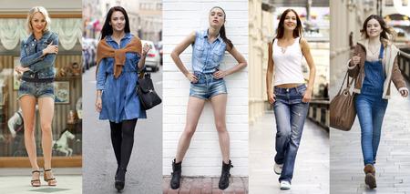 Collage Jeans Fashion. Portret in volle groei het jonge mooie meisjes in jeans Stockfoto
