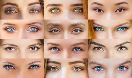 green brown: Collage of beautiful female eyes of different colors