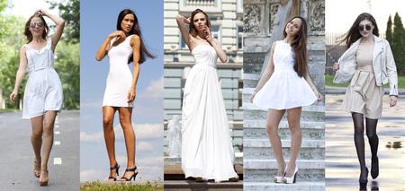 Collage cinco modelos sexy en vestido blanco. Street Fashion, Hermosas mujeres jóvenes
