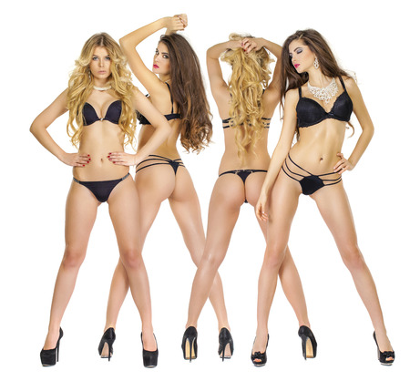 nude blonde girl: Portrait in full growth, beautiful models in black lingerie, blonde and brunette, front and back, isolated on white background Stock Photo