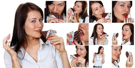 Collage, Young brunette women eating a chocolate candy, isolated on white photo