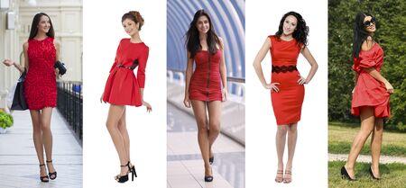 Collage cinq femmes en robe rouge Banque d'images