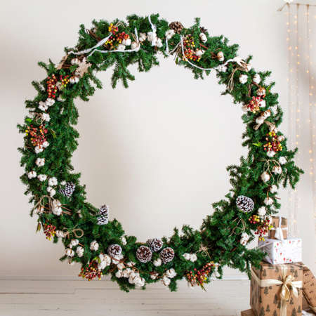 without people: Christmas wreath - photo Studio interior without people Stock Photo