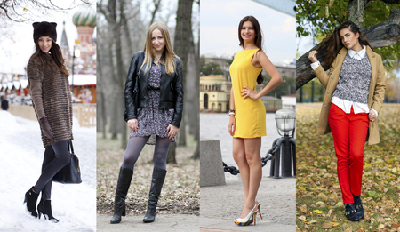 Collage of four different models in fashionable clothes for the seasons, outdoors Stock Photo