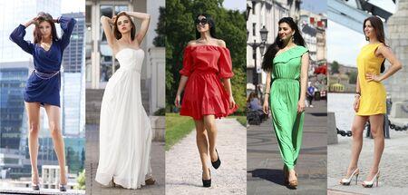 Collage de cinco bellas modelos en vestidos de verano de colores, moda de la calle al aire libre
