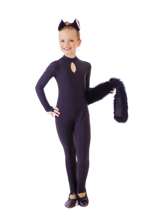 catsuit: Dancer, little girl dressed as black cat. Isolated on white background Stock Photo