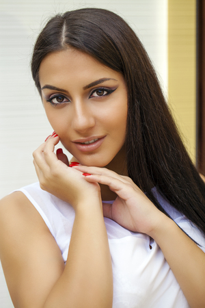 middle eastern ethnicity: Oriental style. Sensual arabic woman model. Beautiful clean skin, saturated makeup
