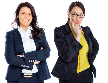 two visions: Two young brunette business women with eyeglasses isolated white background