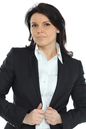 against white: young business woman standing against white background