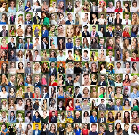 collage caras: Colección de diferentes mujeres y hombres de 18 a 50 años de raza blanca