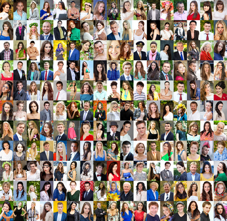 Collection of different caucasian women and men ranging from 18 to 50 years