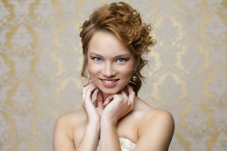 wedding hairstyle: Attractive young bride with beautiful wedding hairstyle