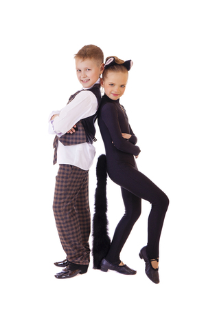vest in isolated: Dancing little girl dressed as a cat and a boy in a plaid vest, isolated on white background